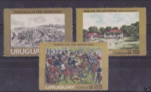 URUGUAY Sc#915/7 NH STAMPS Military battle of Rincon in