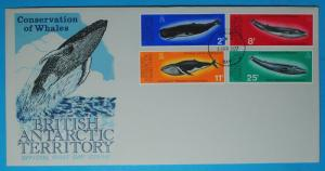 British Antartic Territory # 64-67 FDC Whales  8 5/8 4 3/8