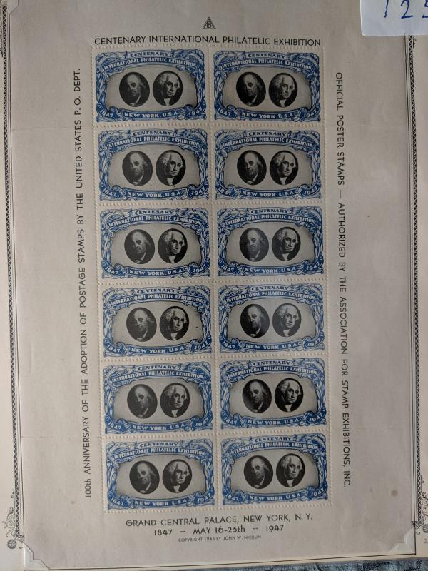 Wahington-Franklin poster stamps XF full sheet, CV $125