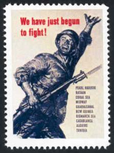 Patriotic WW2 Poster Stamp - We've Just Begun.. - Cinderella