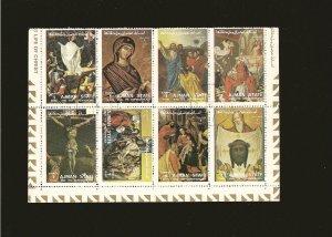 Ajman Sheet of 8 Christian Art 1972 CTO PLEASE READ NOTE