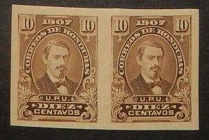 Honduras 123 var. 1907 10c Medina, imperforate pair