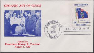 Guam Guard Local Post FDC Organic Act Aug 1 1980