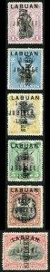 LABUAN SG83s/8s 1896 Jubilee set of 6 type 16 opt SPECIMEN