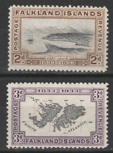 FALKLAND ISLANDS 1933 CENTENARY 2D AND 3D