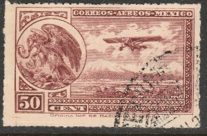 MEXICO C25, 50¢ Early Air Mail Plane and coat of arms. USED. F-VF. (871)