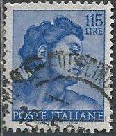 Italy 827 (used) 115 lire head of slave by Michelangelo, ultra (1961)