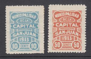 Argentina, San Juan, 1913 10c & 50c Municipal Tax Fiscals, fresh & VF
