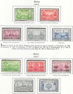 US #785-794 Army - Navy Issue   (MNH) CV $4.70