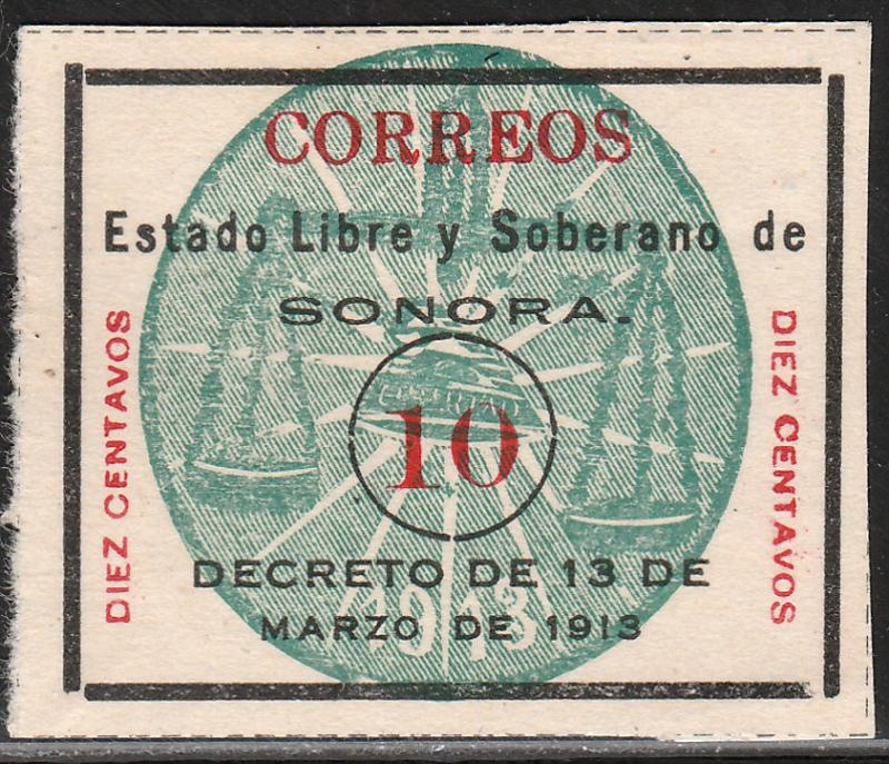 MEXICO 346, 10c SONORA GREEN SEAL. UNUSED, NO GUM (AS ISSUED). F-VF.