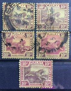 Malaya 1931 Federated Malay States FMS Tigers 10c Shades MSCA Used SG#67 M1988