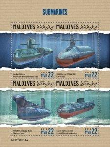 MALDIVES - 2019 - Submarines - Perf 4v Sheet - MNH