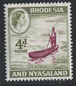 Rhodesia & Nyasaland #163 4p Boat On Lake Bangweula - MHR