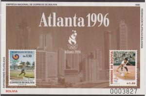 Bolivia Unlisted Souvenir Sheet for Atlanta Summer Olympics, NH
