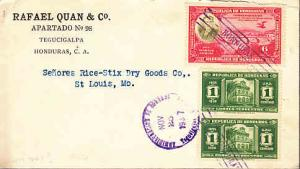 Honduras - #328 (2) & 332 on Cover to US
