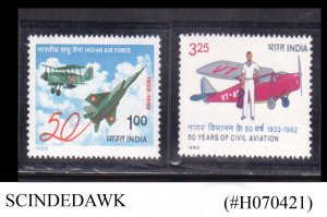 INDIA - 1982 50th ANNIVERSARY OF INDIAN AIR FORCE / CIVIL AVIATION 2V MNH