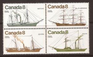 1975 Canada - Sc 673a - MNH VF - Block of 4 - Coastal Vessels