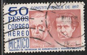 MEXICO C451, $50Ps 1950 Def 8th Issue Fosforescent glazed.  USED. F-VF. (1478)
