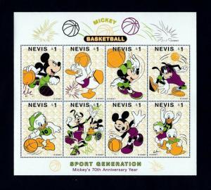 NEVIS - 1998 - DISNEY - MICKEY - DONALD - GOOFY - BASKETBALL - HOOPS  MNH SHEET!