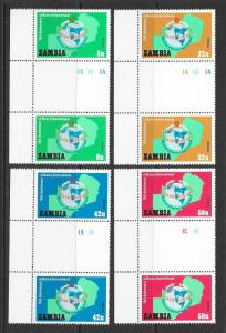 ZAMBIA Sc#212-215 Complete Gutter Pair Set Mint Never Hinged