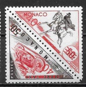 Monaco 379a 40fr Transportation surcharge pair MNH