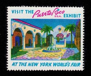 VINTAGE POSTER STAMP 1939 NEW YORK WORLD'S FAIR PUERTO RICO EXHIBIT MNH-OG