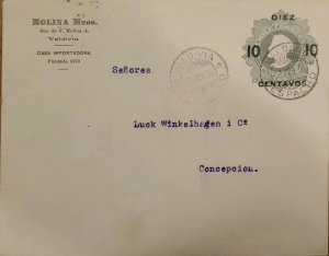 J) 1916 CHILE, POSTAL STATIONARY, 10 CENTS GRAY, CIRCULATED COV ER FROM VALDIVIA
