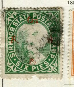 INDIA; SIRMOOR 1885-88 early classic local Official issue fine used 6p. value