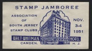 UNITED STATES 1951 STAMP JAMBOREE CAMDEN NJ CINDERELLA - BARNEYS