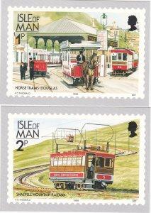 Isle of Man # 347-358D, Railways & Tramways, Maxi Cards Mint Unused