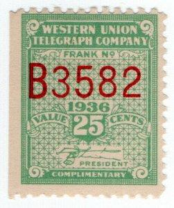 (I.B) USA Telegraphs : Western Union 25c (1936)