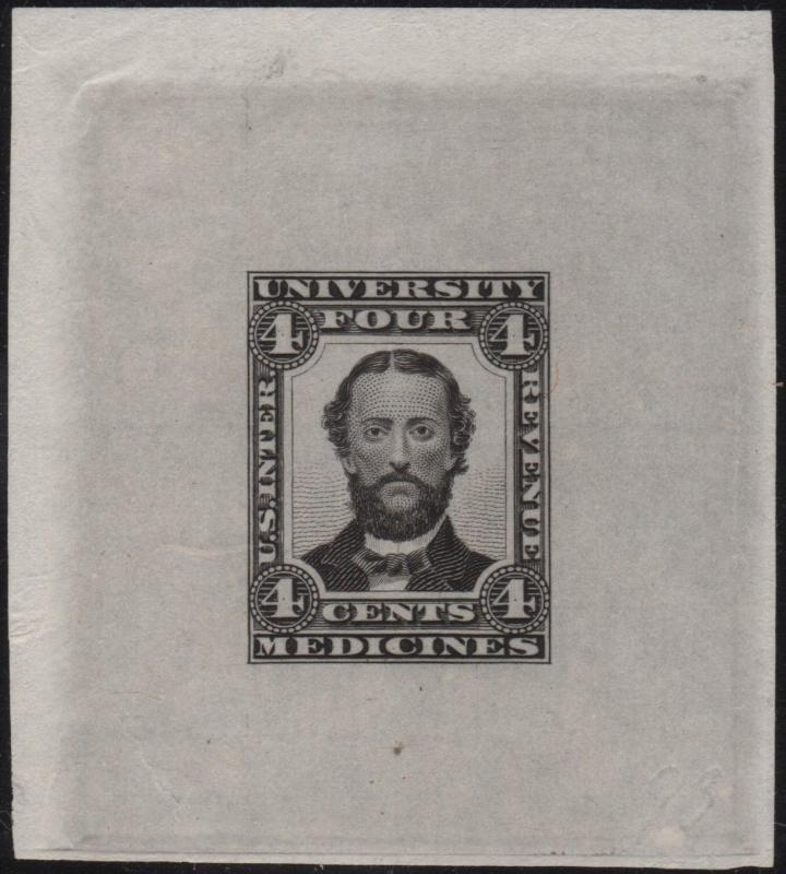 UNIVERSITY MEDICINE Co 4¢ BLACK UNLISTED DIE ESSAY ON INDIA EXT RARE WL6119 BKEY