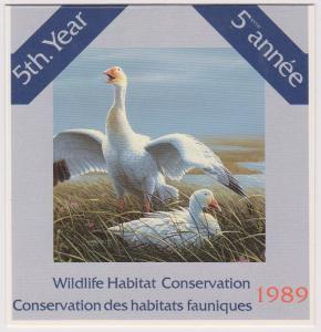 Canada - 1989 Wildlife Habitat Conservation Booklet  USC#FWH5 Cat.$30