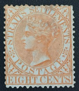 MALAYA 1868 Straits Settlements QV 8c CC MH SG#14a M2672