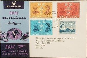 BOAC 1962 Port Louis Mauritius To Khartoum Sudan Cover
