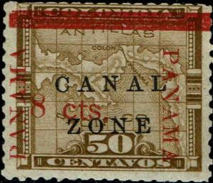 CANAL ZONE #20 1905 8c OVERPRINT ON 50c COLUMBIA ISSUE--MINT-OG/NEVER HINGED