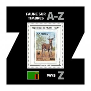 Niger 2021 MNH Stamps-on-Stamps Stamps Wild Animals WWF SOS 1v S/S II