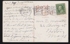 US 385 1c Franklin on Picture Post Card w/ Panama-Pacific Expo Flag Can SCV $90