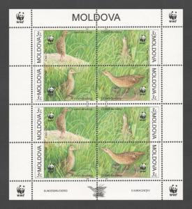 Moldova 2001 Birds WWF 8 MNH stamps sheet