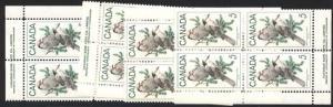 Canada - 1968 5c Gray Jays Imprint Blocks mint #478