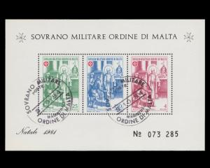 Sovereign Military Order of Malta Souvenir Sheet Year 1981 Control # 073285. CTO