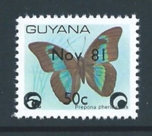 Guyana #436 NH Butterfly Defin. Ovptd. Nov '81 Surcharg...