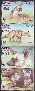Eritrea #350 MNH strip of 4, WWF proteles cristatus , issued 2001