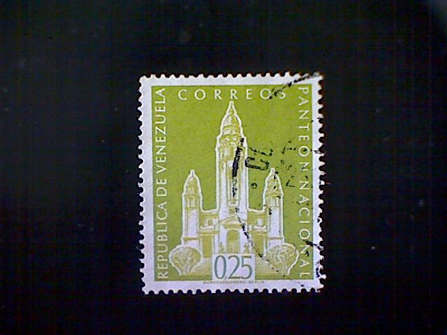 Venezuela, Scott #760, used (o), 1960, National Pantheon, 25cts, light olive
