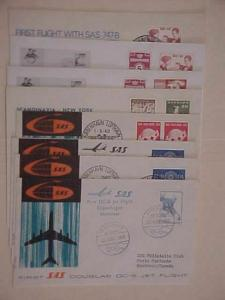 DENMARK 8 DIFF. FLIGHTS  COVERS  1960-1972