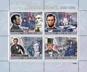 St Thomas - Abraham Lincoln 4 Stamp  Sheet ST9208a