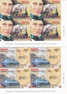 Bequia # 237-240, Railroad Engineers & Locomotives, Imp NH
