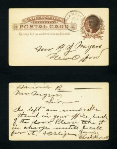 Post Card from Hanover, Pennsylvania to New Oxford, Pennsylvania - 7-10-1880's