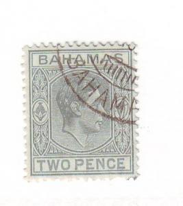 Bahamas 103 1938 2 d gray G VI stamp used