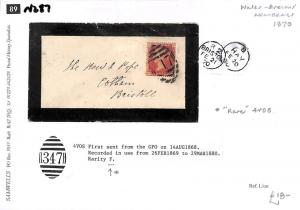 N287 1870 GB WALES BRECONS *Hay* *347*Numeral Rare 4VOS Mourning Cover Bristol